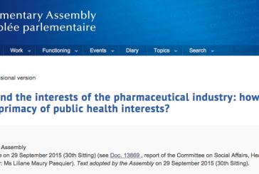 La Asamblea Parlamentaria del Consejo de Europa pide medidas para luchar contra la corrupción de la industria farmacéutica
