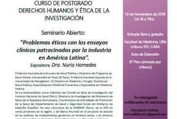"""Seminario abierto «Problemas éticos con los ensayos clínicos patrocinados por la industria en América Latina"""""""