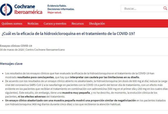 ¿Cuál es la eficacia de la hidroxicloroquina en el tratamiento de la COVID-19?