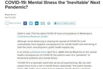 COVID-19: Mental Illness the 'Inevitable' Next Pandemic?