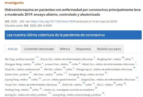 Hidroxicloroquina en pacientes con enfermedad por coronavirus principalmente leve a moderada 2019: ensayo abierto, controlado y aleatorizado