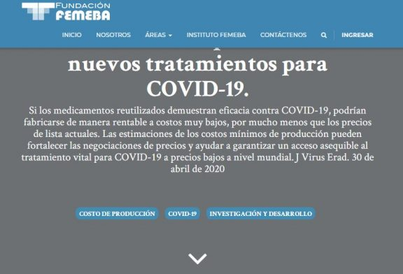 Costos mínimos para fabricar nuevos tratamientos para COVID-19.