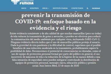 Las mascarillas de tela pueden prevenir la transmisión de COVID-19:  enfoque basado en la evidencia y el riesgo