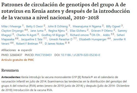 Patrones de circulación de genotipos del grupo A de rotavirus en Kenia antes y después de la introducción de la vacuna a nivel nacional, 2010-2018